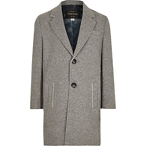 Boys grey raw edge overcoat