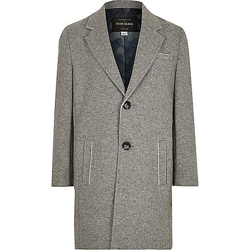 Grauer, klassischer Mantel mit offenem Saum