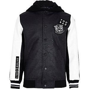 Boys black badge varsity bomber jacket