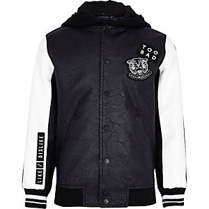 Boys black badge varsity bomber jacket
