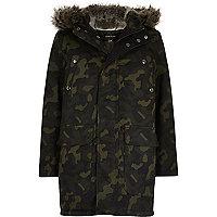 Boys khaki camo faux fur hooded padded parka