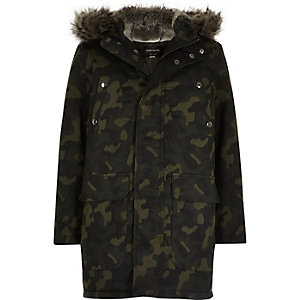Boys khaki camo faux fur hooded padded parka
