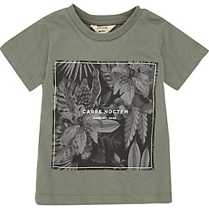Mini boys khaki 'Noctern' print t-shirt