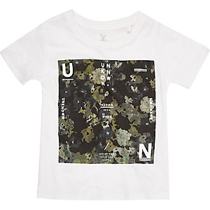 Mini boys white camo T-shirt
