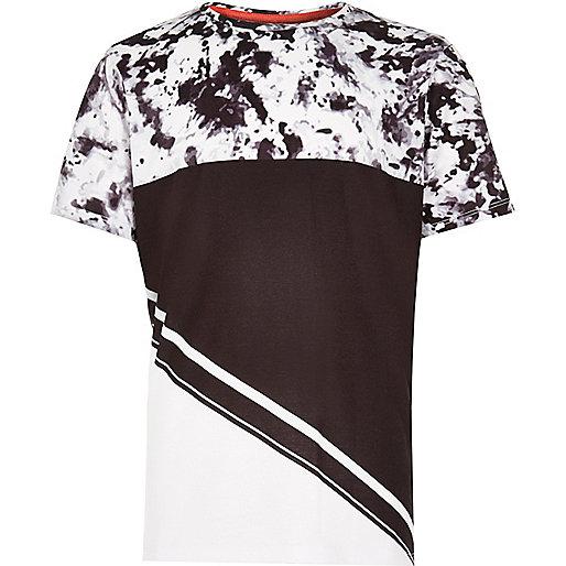 T-shirt blanc à empiècement contrastant pour garçon
