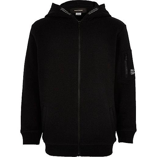 Sweat noir zippé à capuche pour garçon