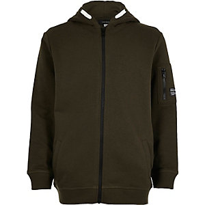 Boys khaki cotton hoodie