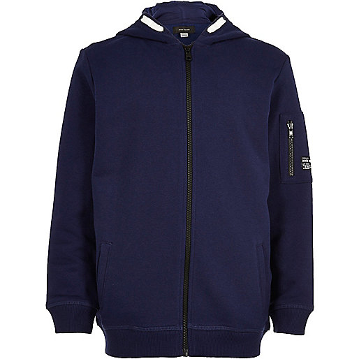 Boys navy blue zip up hoodie