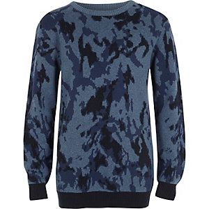 Boys blue camo jumper