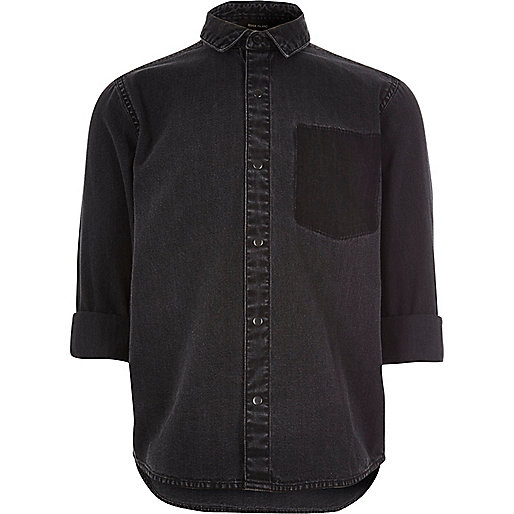 Boys black denim shirt