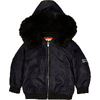 Mini boys navy padded bomber with hood