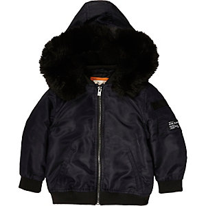 Mini boys navy hood padded bomber jacket