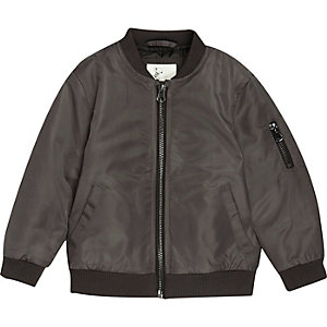 Mini boys dark grey padded bomber jacket