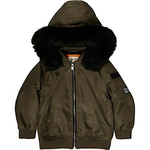 Mini boys khaki hood padded bomber jacket
