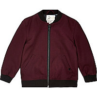 Mini boys dark red cotton bomber jacket