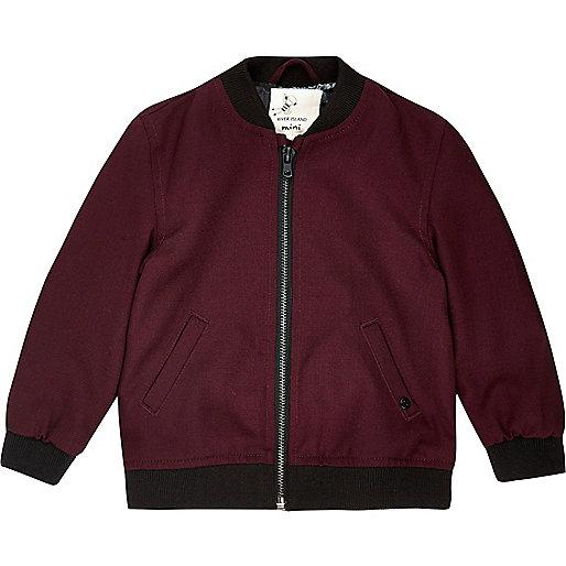 Mini boys dark red cotton bomber jacket