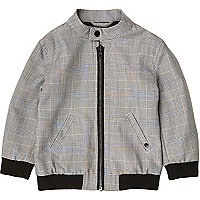 Mini boys grey check bomber jacket