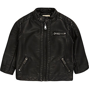 Mini boys black textured biker jacket