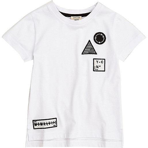 Mini boys white badge T-shirt