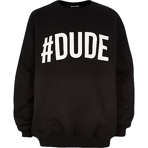 Boys black #dude print sweatshirt