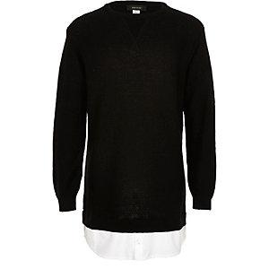 Boys black 2 in 1 shirt sweater