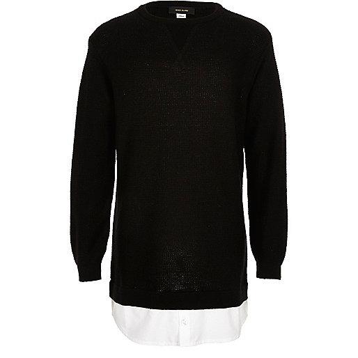 Schwarzes Hemd und Pullover als 2-in-1