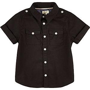 Mini boys black twill shirt