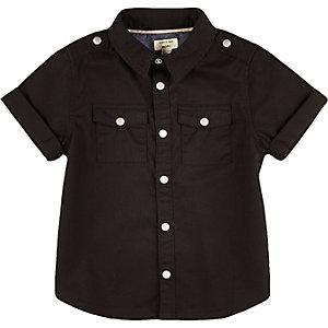 Mini boys black twill shirt