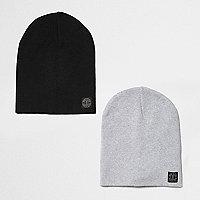 Lot de bonnets noir et gris pour garçon