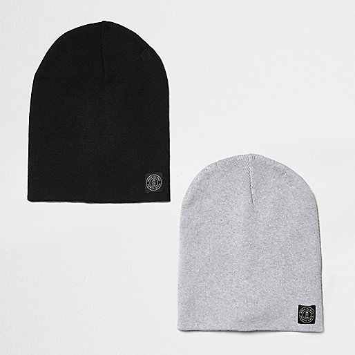 Boys black and grey beanie multipack