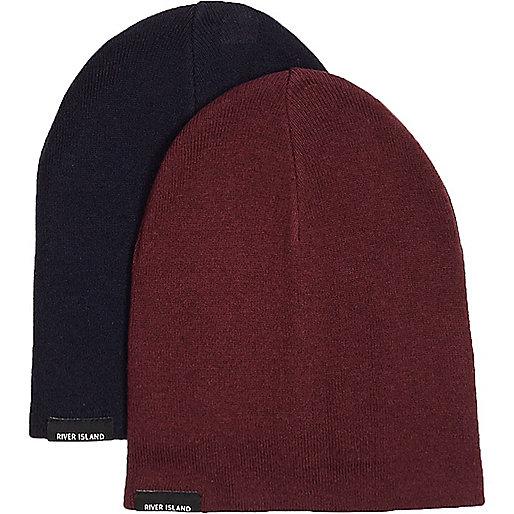 Beanie in Marineblau und Rot, Multipack
