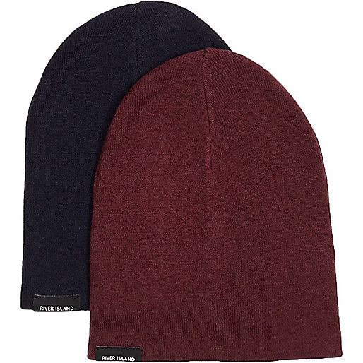 Lot de bonnets bleu marine et rouge pour garçon