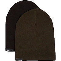 Boys khaki and black beanie multipack