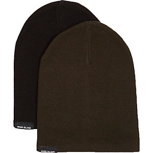 Boys khaki and black beanie pack