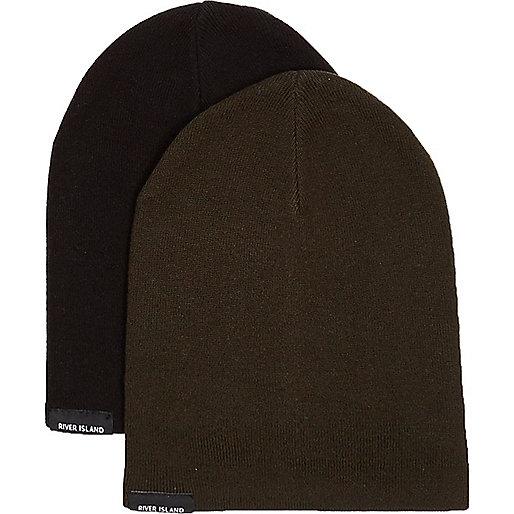 Lot de bonnets kaki et noir garçon