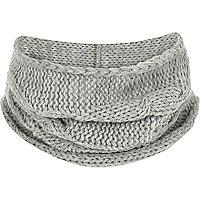 Écharpe-tube en maille grise pour garçon