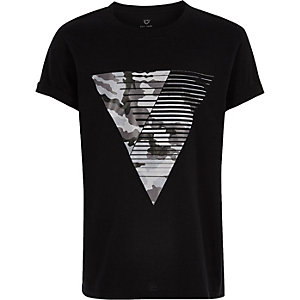 Boys black camo triangle print T-shirt