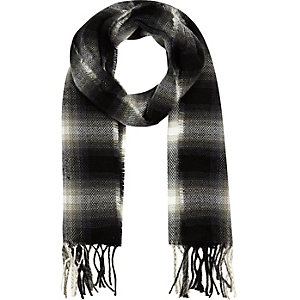 Boys black shadow tartan scarf