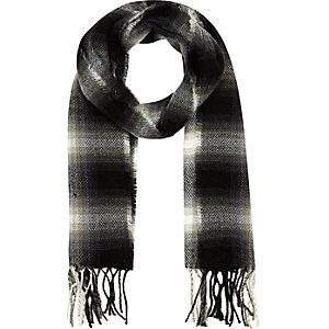 Boys black shadow tartan scarf