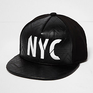 Boys black quilted NYC cap