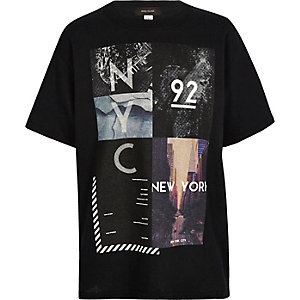 Boys black NYC collage print t-shirt