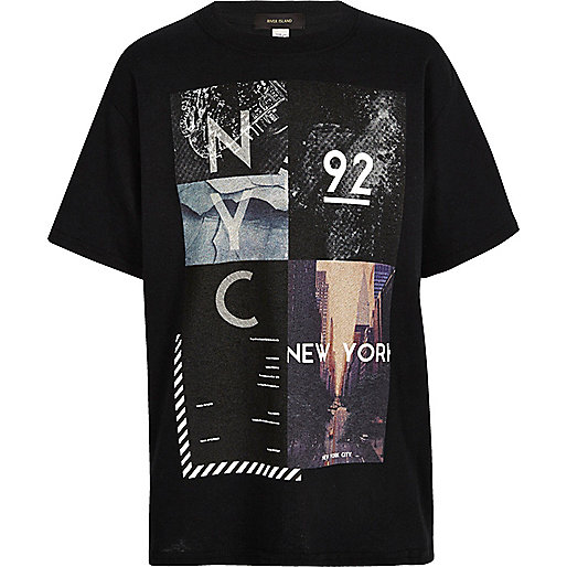 Boys black NYC collage print t-shirt