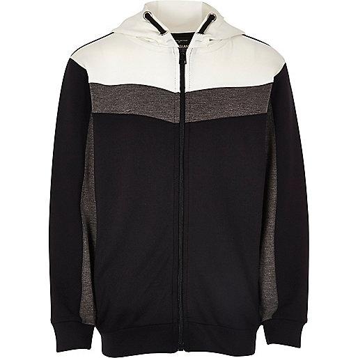 Boys navy colour block zip up hoodie