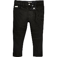 Mini boys black coated biker skinny jeans