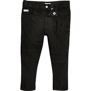 Mini boys black coated biker skinny jeans