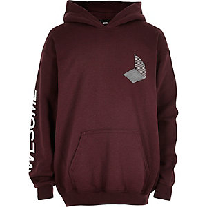Boys burgundy 'Awesome' hoodie
