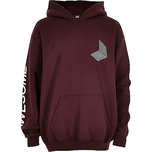 Boys dark red 'Awesome' hoodie