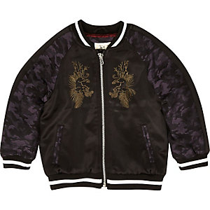 Mini boys black embroidered block bomber