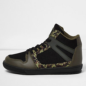 Boys khaki camo panel hi tops