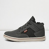 Boys grey tweed panel fleece hi tops